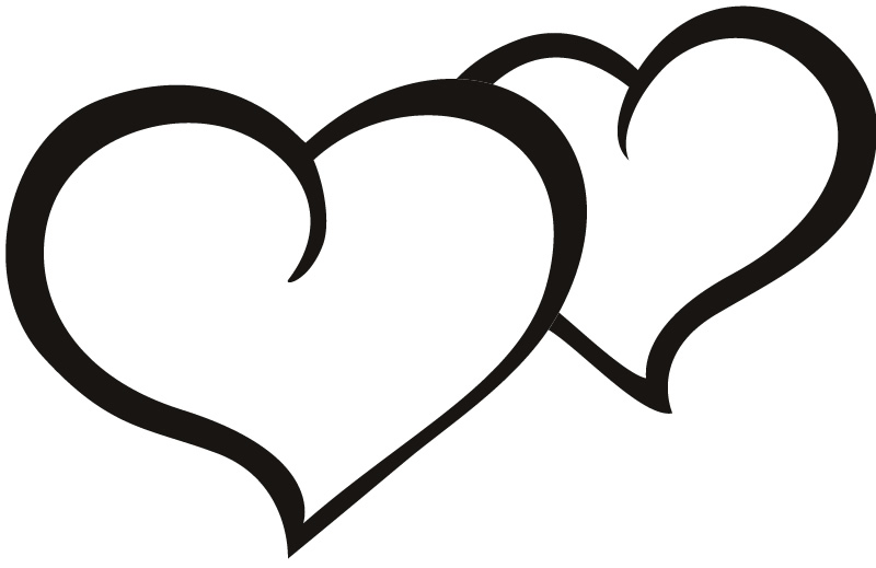 Heart outline. Two hearts clipart