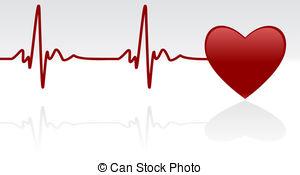 Heartbeat - Editable vector background - heart and heartbeat.