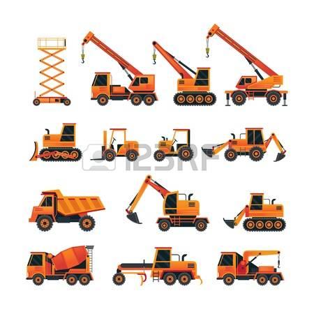 Heavy Equipment: Construction Vehicles O-heavy equipment: Construction Vehicles Objects Orange Set, Side View, Heavy Equipment, Machinery-16