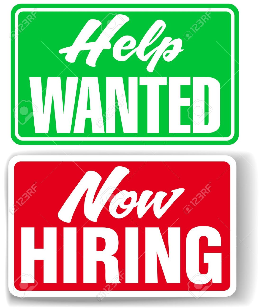 help wanted sign: Two retail  - Help Wanted Clipart