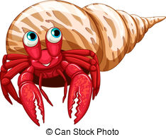 ... Hermit crab - Illustration of a sing-... Hermit crab - Illustration of a single hermit crab-14
