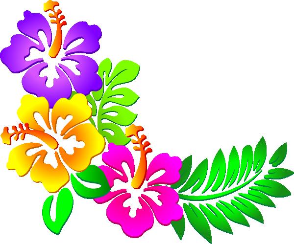 Hibiscus Corner Clip Art At C - Luau Clipart
