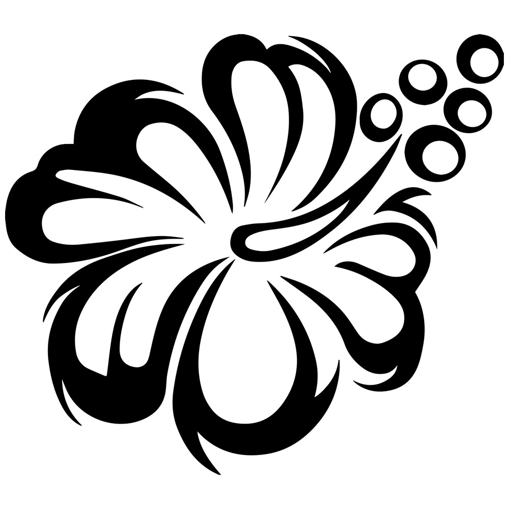 Hibiscus Flower Clipart Black and White