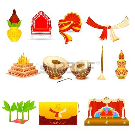 hindu wedding: vector illustration of Indian wedding object Stock Photo