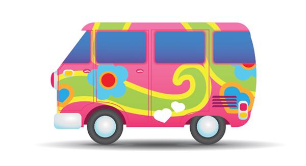Hippie Van Clipart - Van Clipart