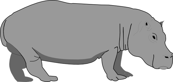 hippo clipart black and white