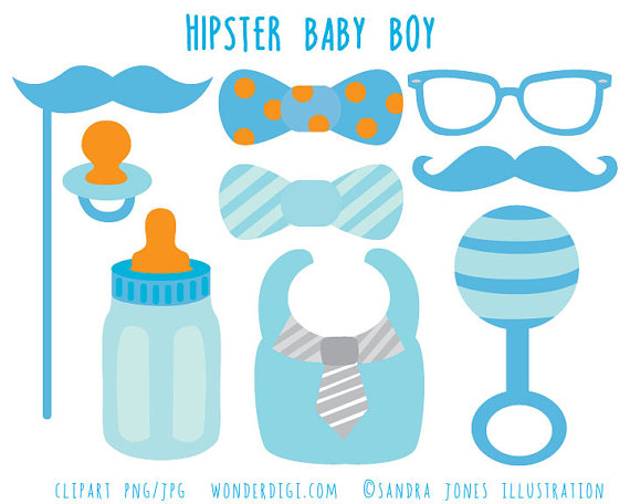 Hipster Baby Shower Clip Art ..