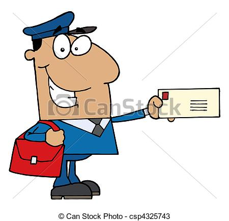 ... Hispanic Mail Man Holding A Letter --... Hispanic Mail Man Holding A Letter - Friendly Hispanic Mail.-5