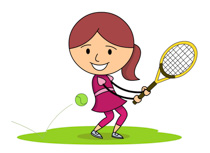 Hitting Tennis Ball With Back Hand clipart. Size: 94 Kb