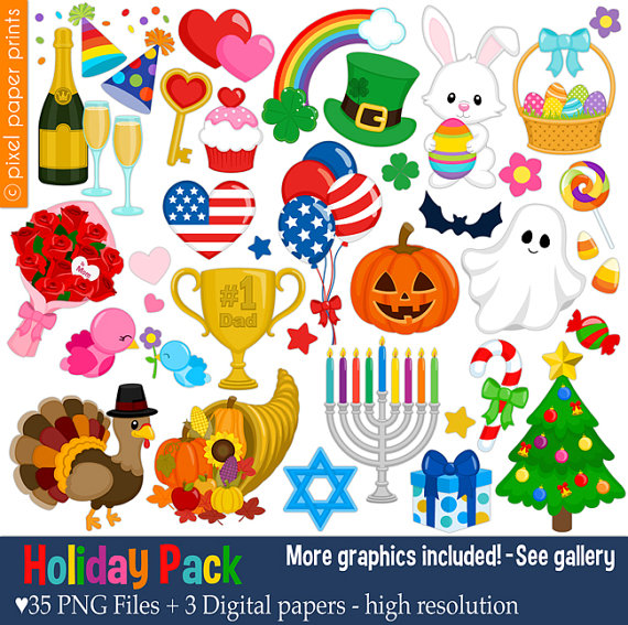 Holiday Pack - Clip art set .