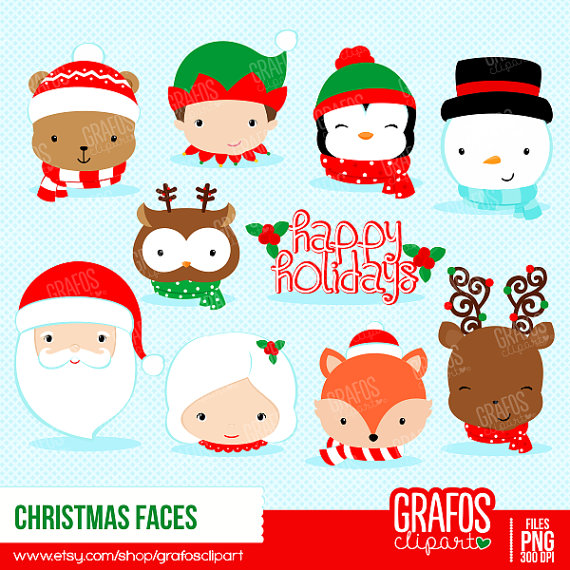 CHRISTMAS FACES - Digital Clipart Set, Merry Christmas Clipart, Holidays  Clipart, Christmas Images from GRAFOSclipart on Etsy Studio