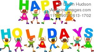 Clipart Illustration of a Group of Happy-Clipart Illustration of a Group of Happy Children Holding up the Words  Happy Holidays-15