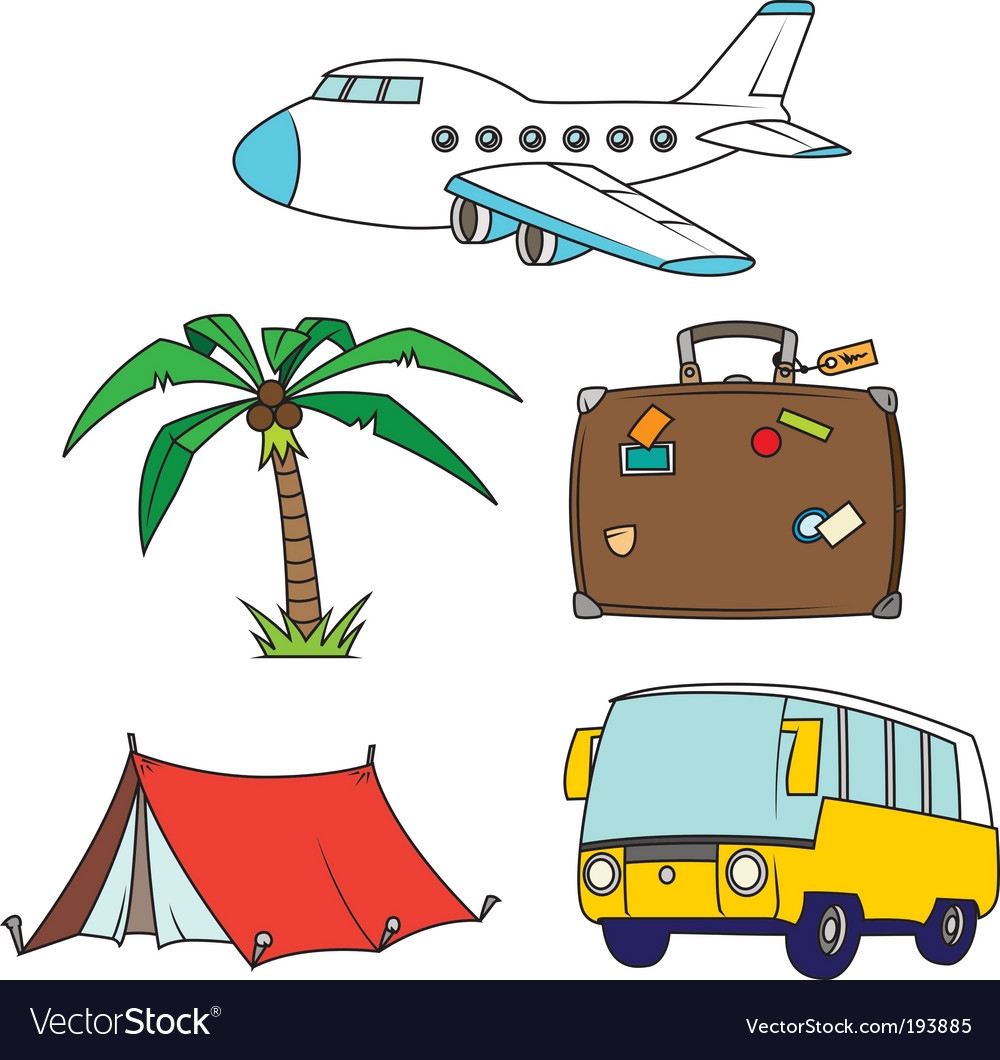Holidays and travel clipart set vector image