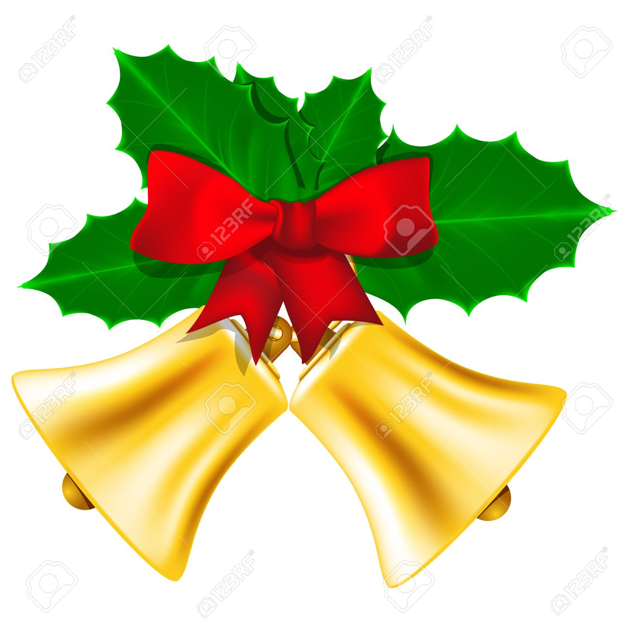 holly leaves: Golden Christmas bells with red bow and leaves of holly