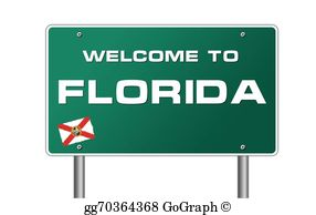 3D Silver Welcome Sign; Welcome to Florida road sign illustration