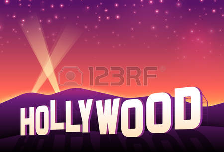 Hollywood Hills Iconic Hollywood Movie S-Hollywood hills iconic hollywood movie sign at sunset. Illustration-4