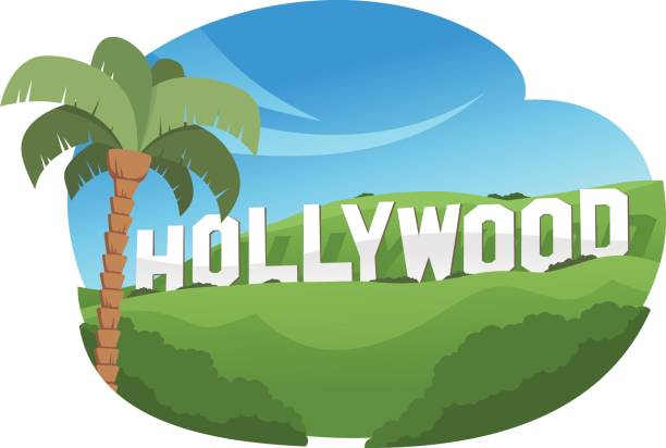 Hollywood sign over a green hill vector art illustration