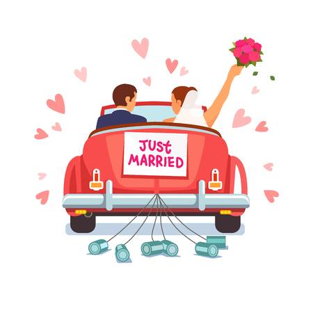 Newlywed couple is driving a  - Honeymoon Clipart