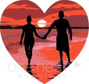 Red Heart Sunset Beach Holding Hands-Red Heart Sunset Beach Holding Hands-0