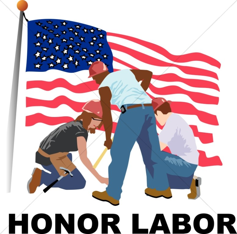Honor Labor with Workers and Flag-Honor Labor with Workers and Flag-10