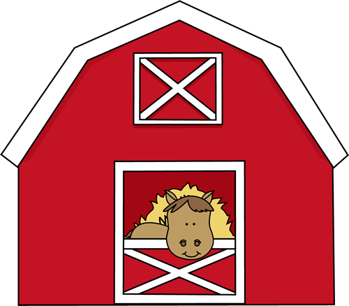 Horse In A Barn Clip Art Image Red With Hay