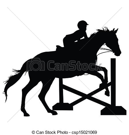 ... Horse Jumping Silhouette - Silhouette of a child or young.