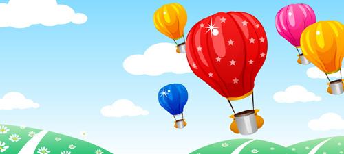 Hot Air Balloon And Beautiful Views Vect-hot air balloon and beautiful views vector-4