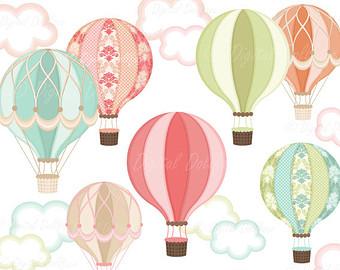 Hot Air Balloon Clip Art. Digital Hot Ai-Hot Air Balloon Clip Art. Digital Hot Air Balloon .-6