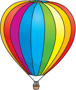 3d hot air balloon; Clipart .