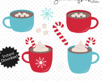 Hot Cocoa Candy Cane - Winter Themed Dig-Hot Cocoa Candy Cane - Winter Themed Digital Clipart - Personal and Commercial Use hc01-15