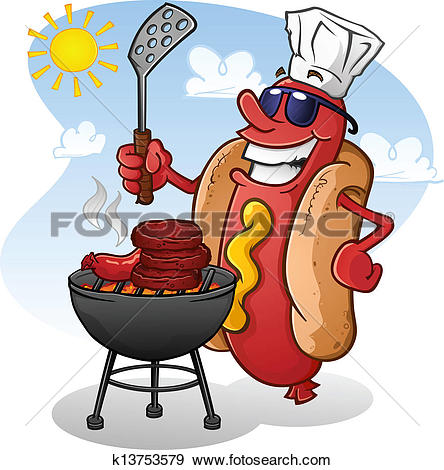 Hot Dog Cartoon Character Grilling-Hot Dog Cartoon Character Grilling-8