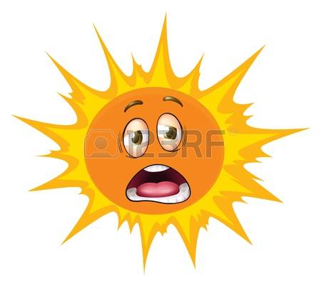 hot sun: illustration of a face on a white background Illustration