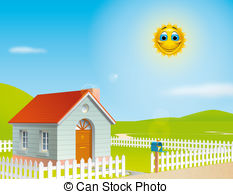 ... House At A Sunny Day - Illustration -... House at a sunny day - Illustration of a house at a sunny.-3