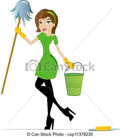 House Cleaning Clip Art Free | - Cleaning Woman with Mop and Bucket csp11378235 - Search