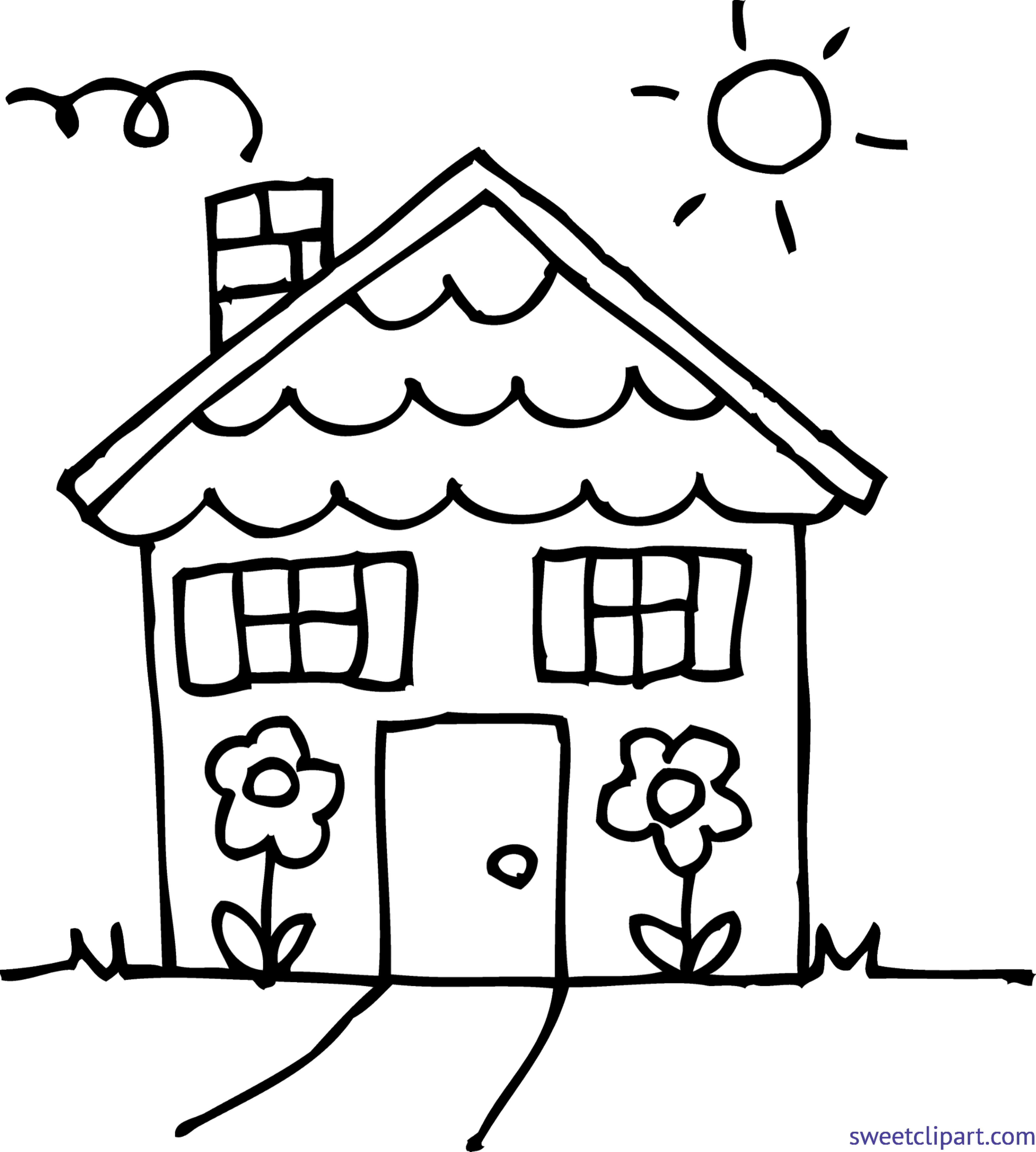 4332x4815 Cute House 3 Coloring Page Cli-4332x4815 Cute House 3 Coloring Page Clip Art-14