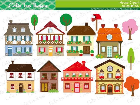 House clipart - houses clip art, buildin-House clipart - houses clip art, buildings, homes, cute houses / INSTANT  DOWNLOAD (CG136)-8