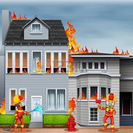 house fire: Firemen at the scene of house fire illustration