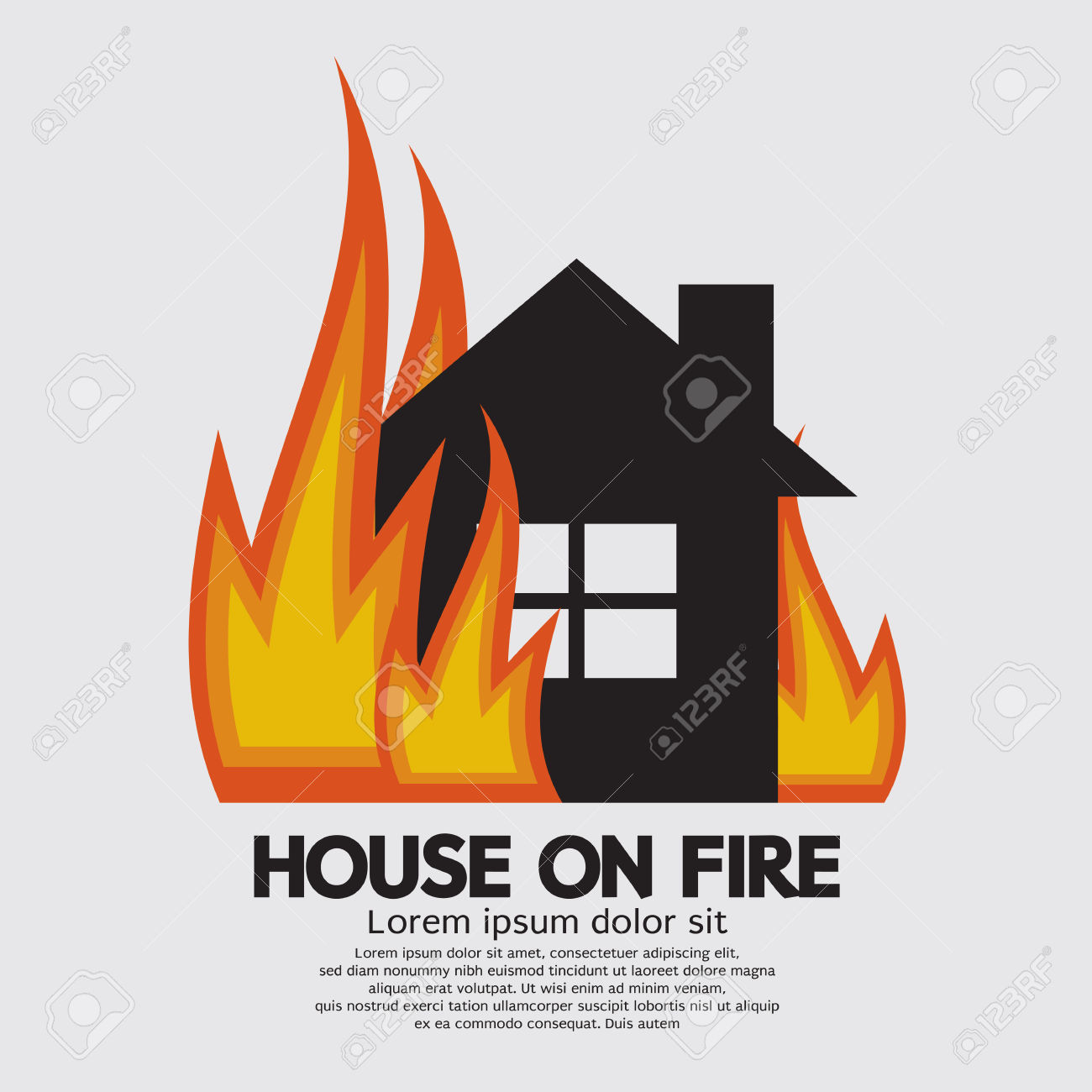 house fire: House On Fire Illustration