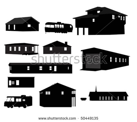 House silhouettes. - Mobile Home Clipart