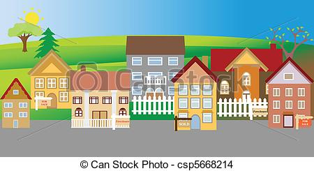 ... Houses for sale and foreclosure in a suburban neighborhood