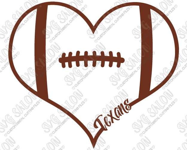 625x500 Texans Fan Football Laces Heart Custom DIY Vinyl Shirt Decal