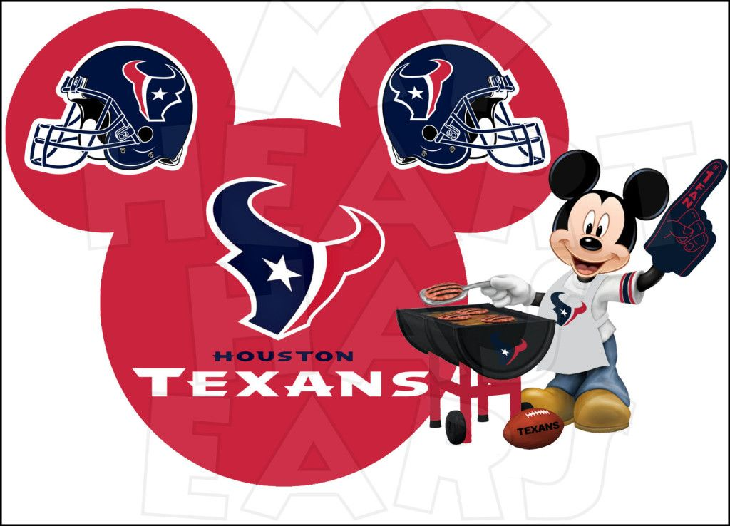 Houston Texans football with Mickey Mouse INSTANT DOWNLOAD digital clip art