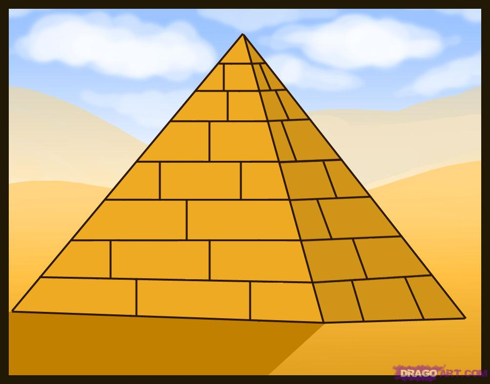 How To Draw A Pyramid Step By Step Buildings Landmarks Places