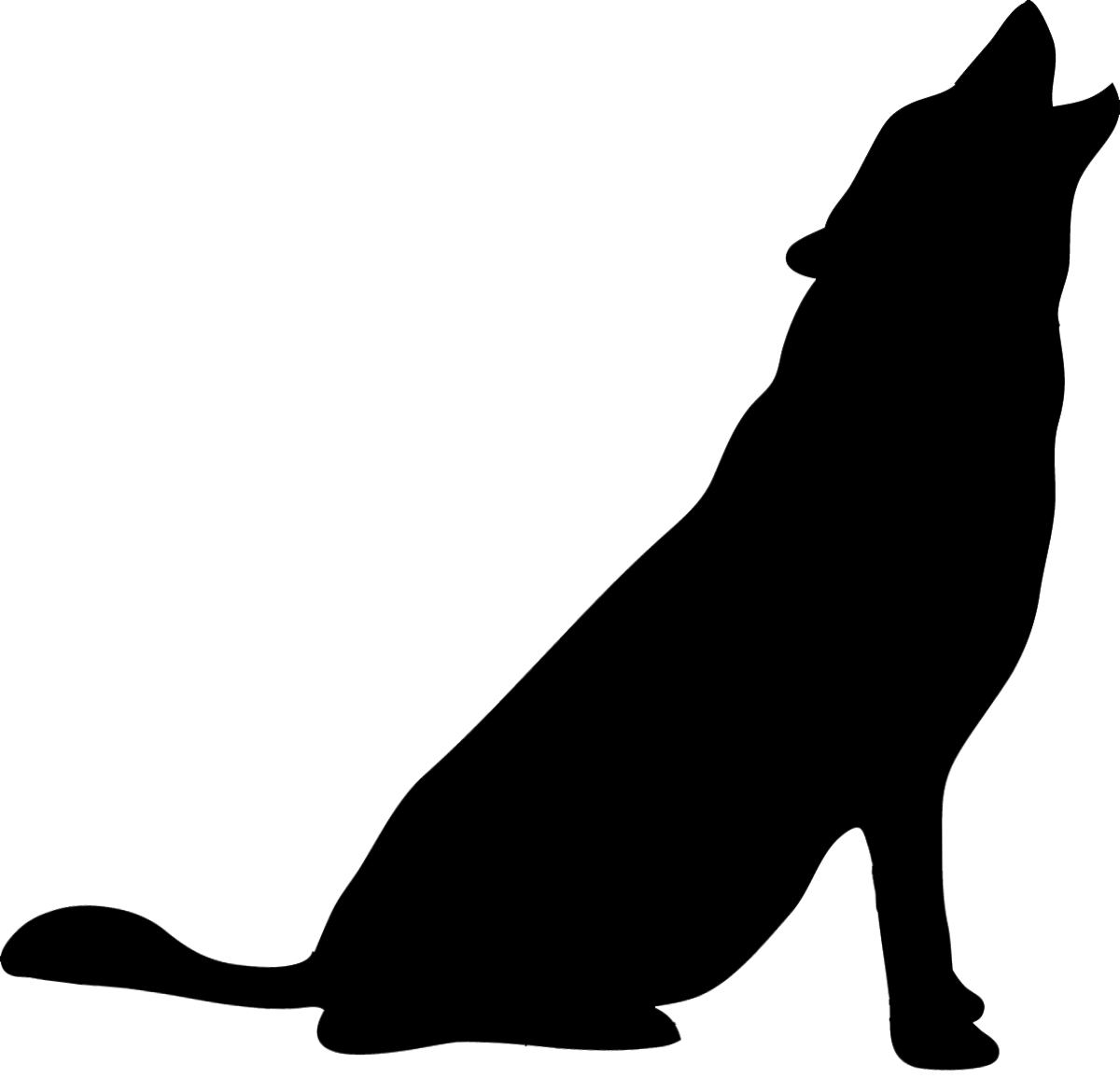 Howling wolf silhouette ...
