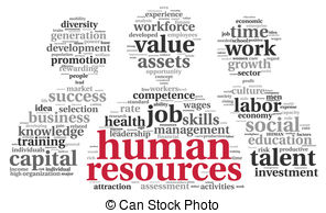 ... HR - human resources concept in tag cloud on white.