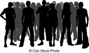 ... Huge crowd of people - Silhouette of a huge crowd of people