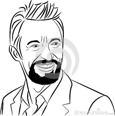 A Celebrity Vector Art Illustration Of A-A celebrity vector art illustration of a Hollywood movie actor Hugh Jackman.-0