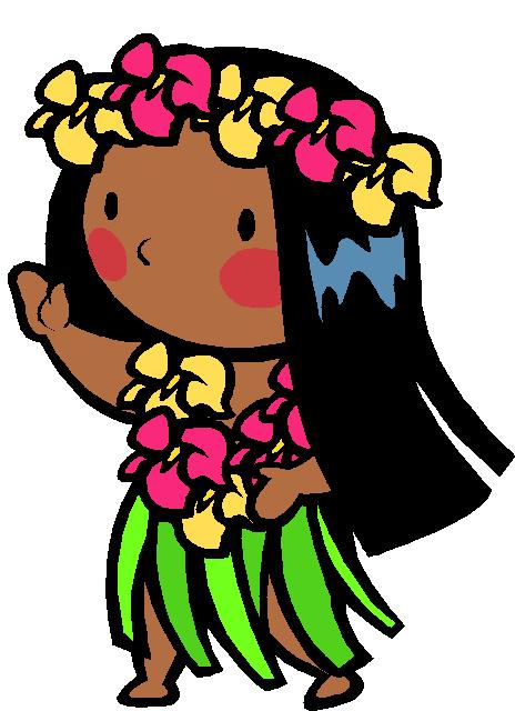 Cartoon Baby Hula Girl Clipar