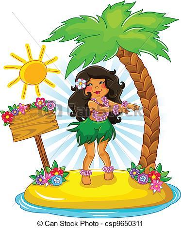 ... hula girl - girl dancing hula on a tropical island