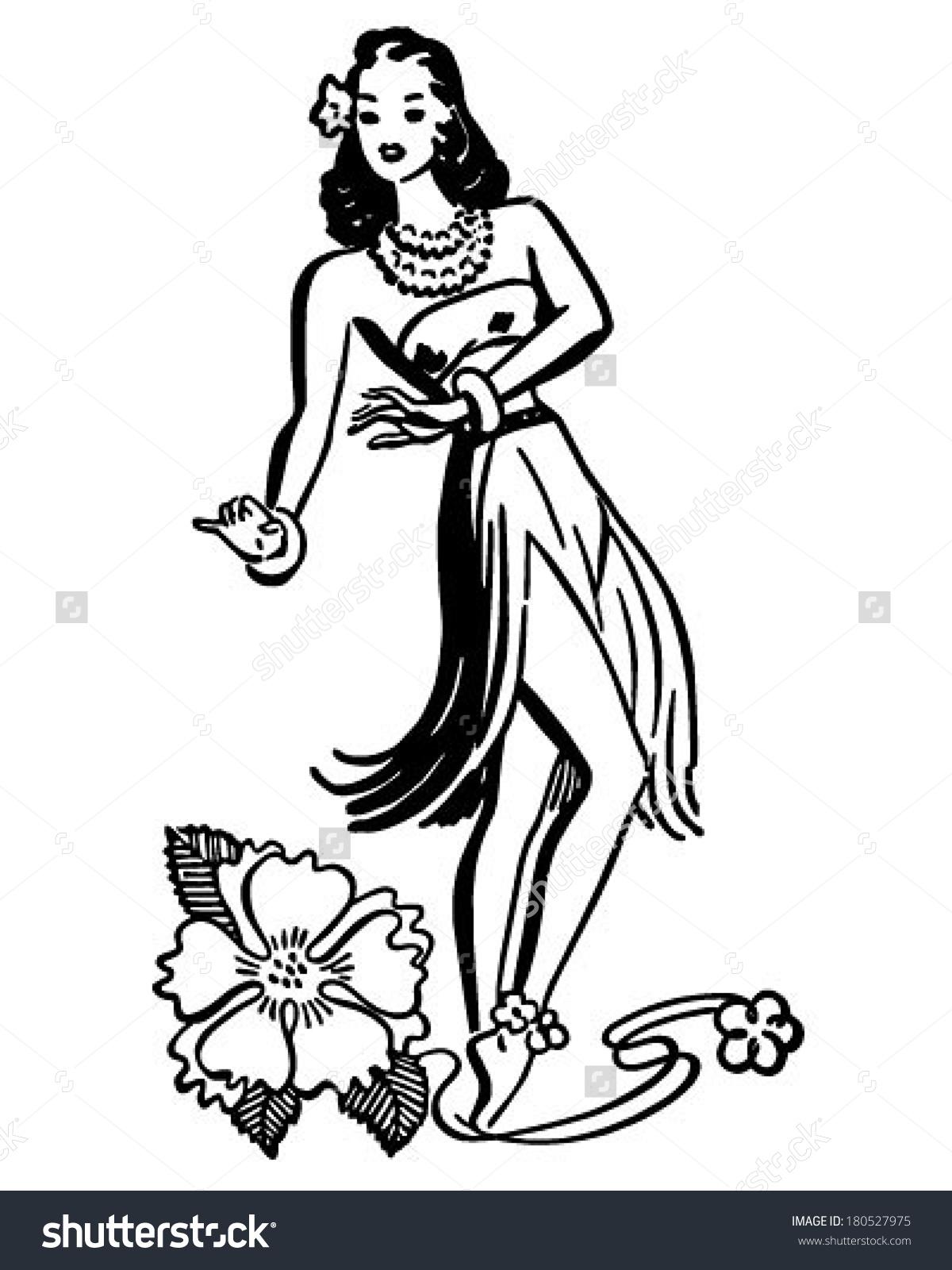 Hula Girl - Retro Clip Art Illustration
